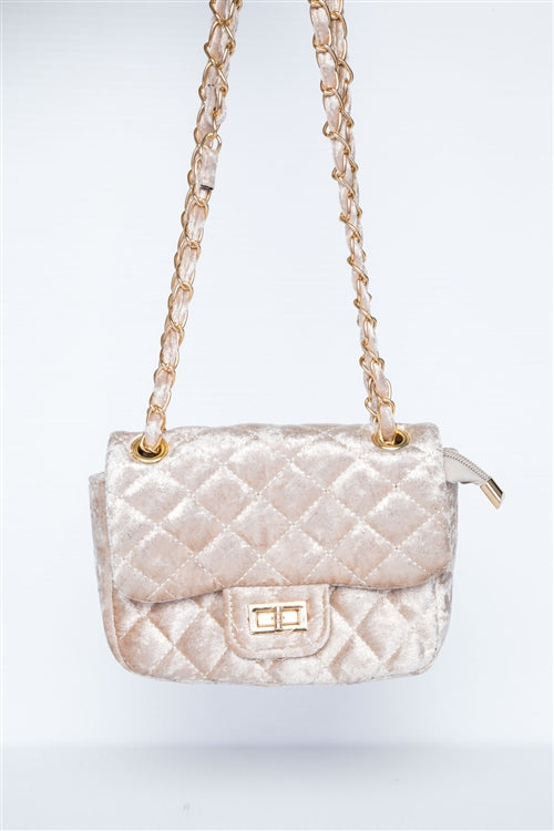Classic Quilted Velvet Shoulder Bag (Ivory)