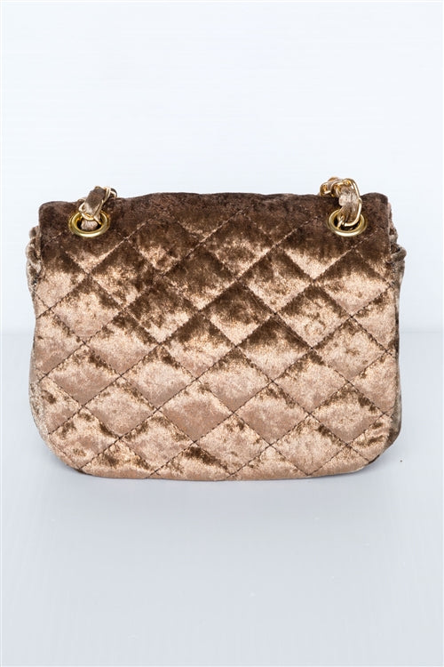 Classic Quilted Velvet Shoulder Bag (Mocha)