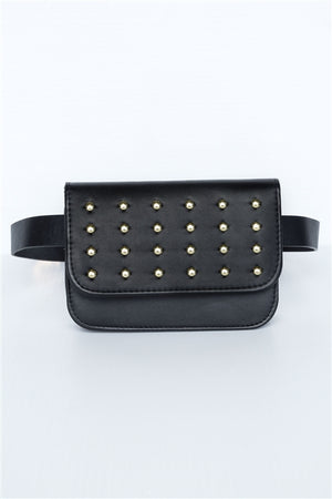 Stella Studded Vegan Leather Fanny Belt Bag (Black)