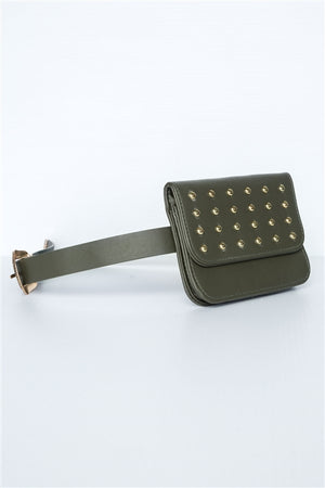 Stella Studded Vegan Leather Fanny Belt Bag (Olive)