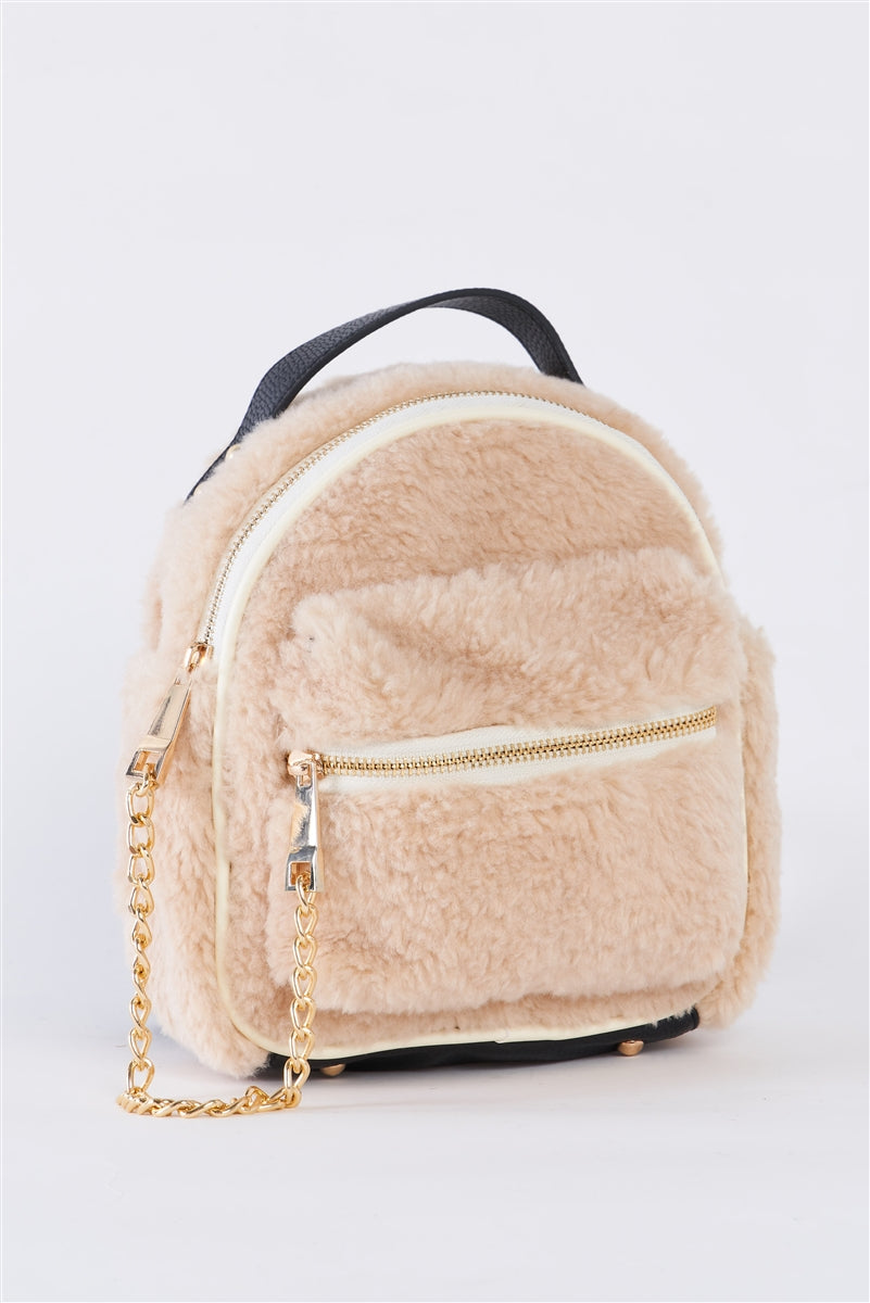 Warm Winter Sherpa & Vegan Leather Ivory Backpack
