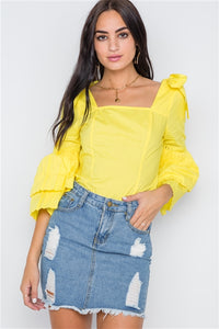 April Showers Pleated Sleeve Blouse (Yellow)