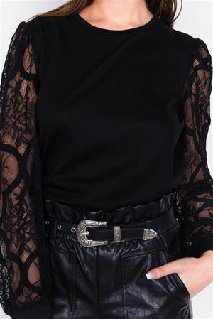 Confession Black Lace Sleeve Blouse