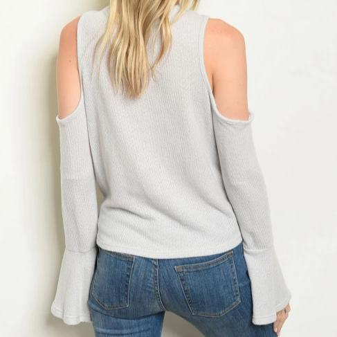 Repetition Super Soft Cold Shoulder Top in Gray