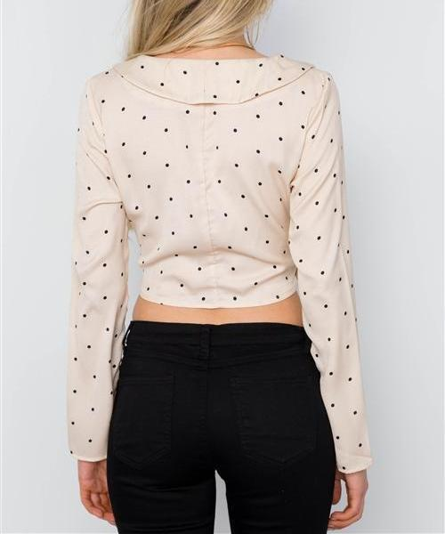 POSH POLKA DOT WRAP FRONT CROPPED BLOUSE in CREAM