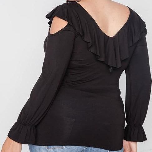Tessa Cold Shoulder Ruffle Plus Size Blouse (Black)