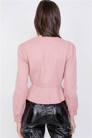 Willa Pink Peplum Button Top