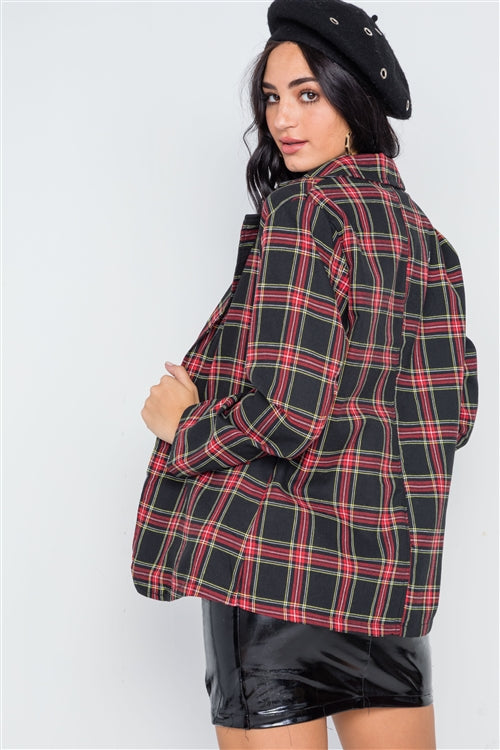 Seattle Red & Black Plaid Open Front Blazer Jacket