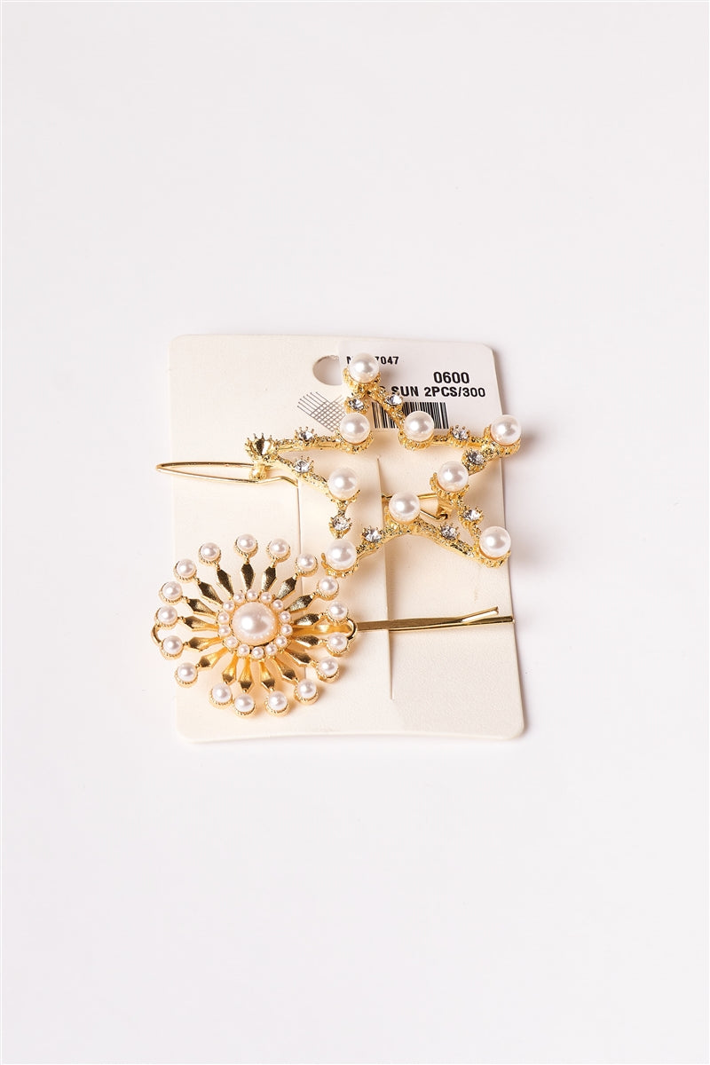 Glimmer Girl Pearl Bobby Pin Barrette 2 Piece Set