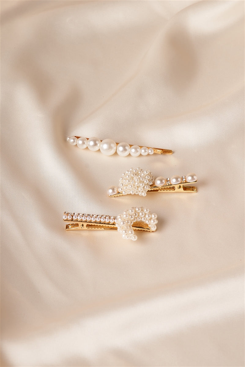 Moonlit Pearl Barrette & Bobby Pin Set