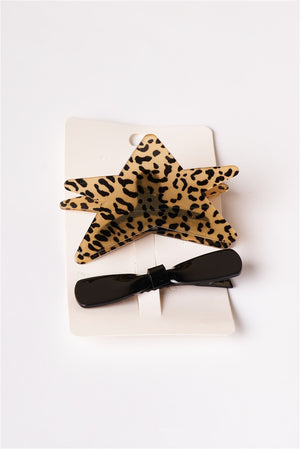 Wild Time Star Leopard Clip & Black Bow 2-pc Set