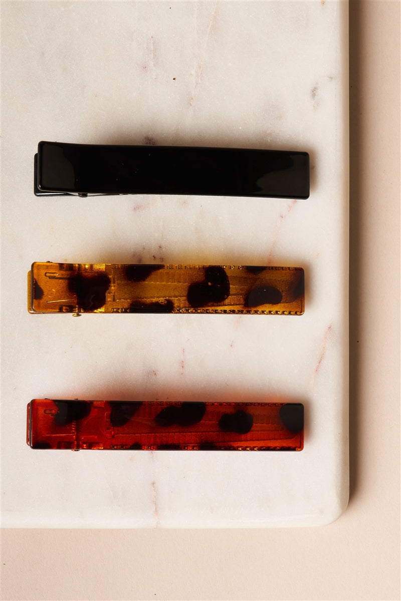 Tortoise Shell Trio Flat Barrette Set