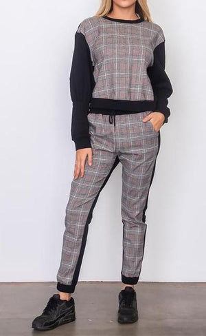 BECKETT PLAID CONTRAST TWO PIECE SET