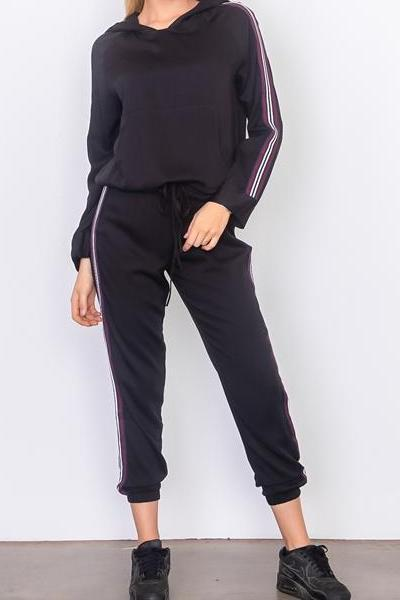 FAST PACE STRIPED WOVEN JOGGER HOODIE SET