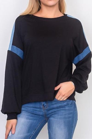 Denim Stripe Contrast Black Top