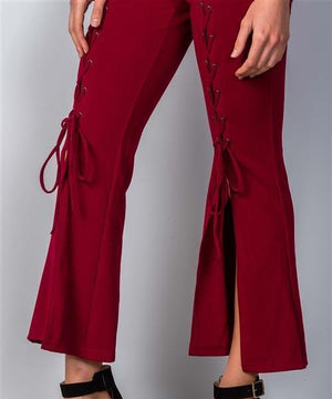 Wide Split Leg Lace-Up Jumpsuit (Red)