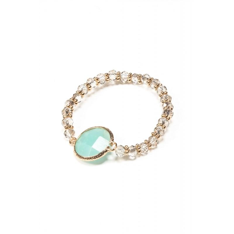 AQUA CRYSTAL GOLD STRETCH BRACELET