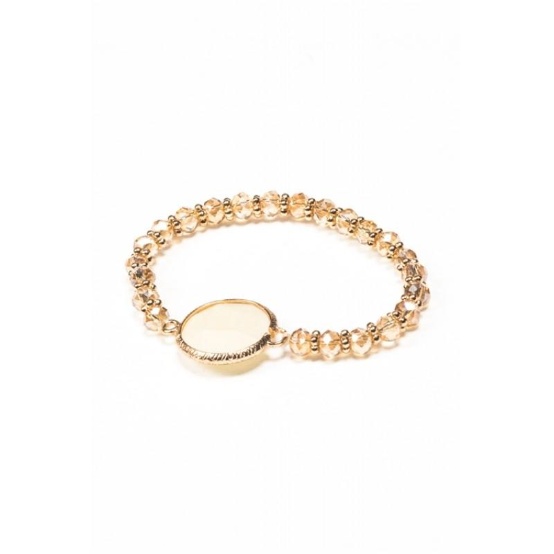 Ivory Crystal Gold Stretch Bracelet