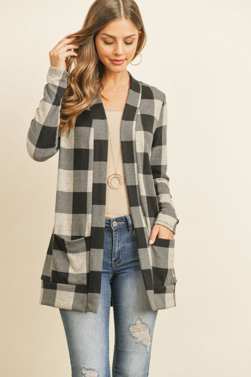 Dakota Buffalo Plaid Cardigan (Oatmeal)