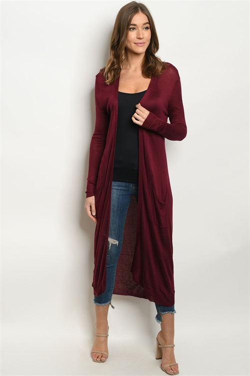 Home Office Long Pocket Cardigan (Burgundy)