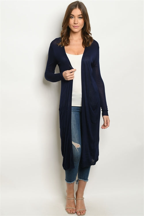 Home Office Long Pocket Cardigan (Navy)
