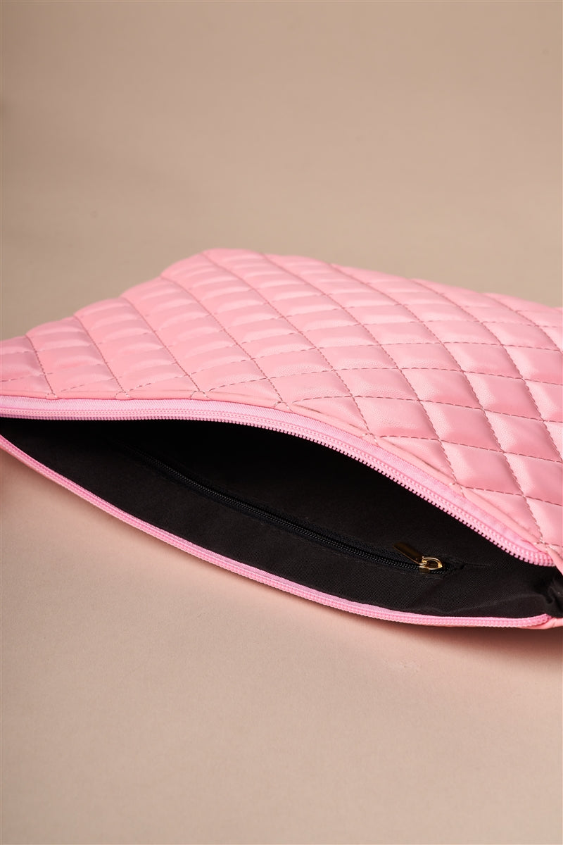 Center Stage Quilted Vegan Leather Clutch (Bubblegum Pink)