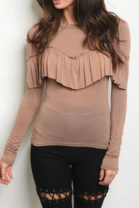 BRIGHTON RUFFLE BLOUSE (LATTE)