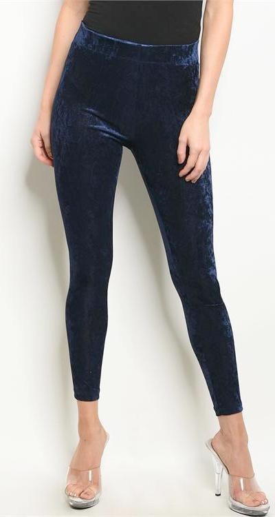 Navy Blue Velvet Leggings