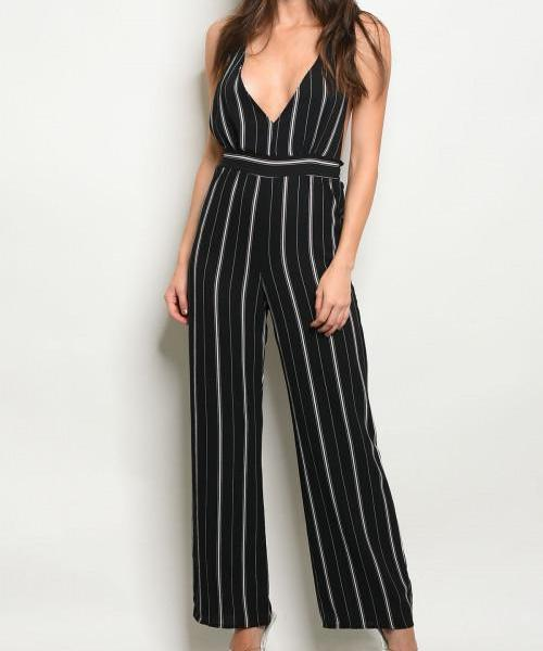 KARLA CLASSIC STRIPED CROSS BACK JUMPSUIT