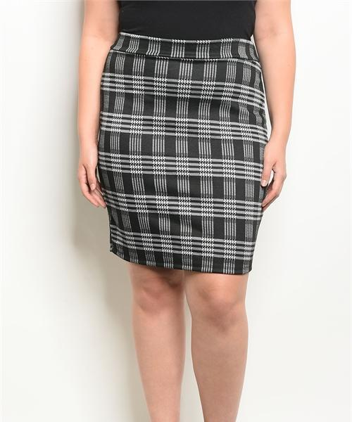 Westwood Plaid Fitted Pencil Skirt (Plus)