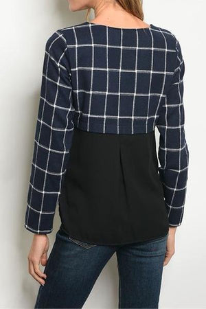 TAYLA PLAID MIXED MEDIA CONTRAST TOP
