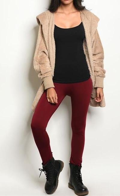 Cozy Vibes Fleece Lined Leggings (Burgundy)