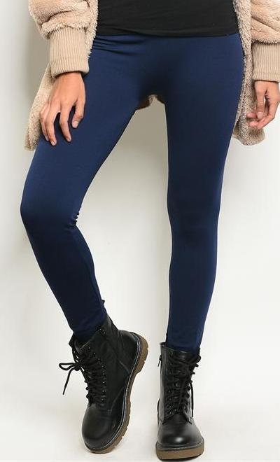 Cozy Vibes Fleece Lined Leggings (Navy)
