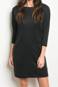 ADORATION SUPER SOFT POCKETED TUNIC DRESS DEEP CHARCOAL