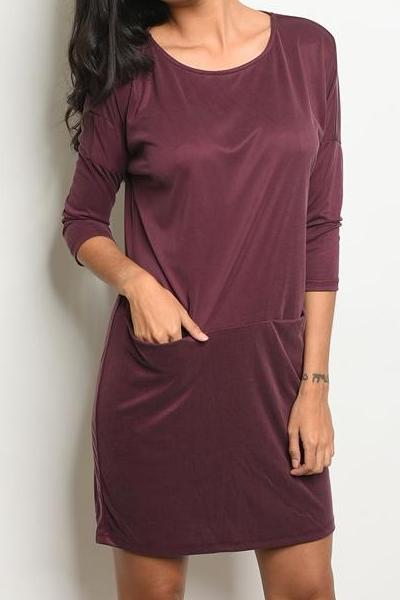 Adoration Super Soft Pocketed Tunic Dress (Wine)