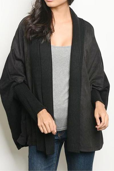 SUEDE & SWEATER MIXED MEDIA OPEN CARDIGAN