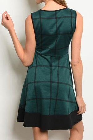 Promotion Plaid Skater Dress (Emerald)