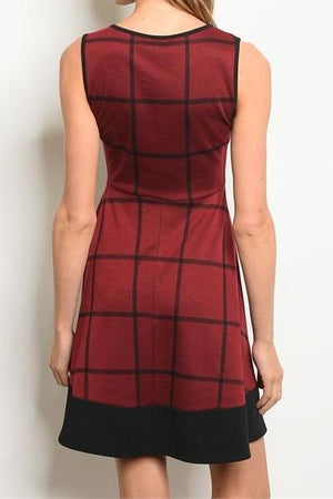 Promotion Plaid Skater Dress (Cherry)