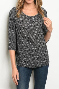 EVERLY PRINT CONTRAST BLOUSE