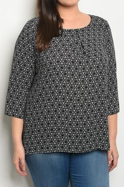 EVERLY PRINT CONTRAST BLOUSE (PLUS)
