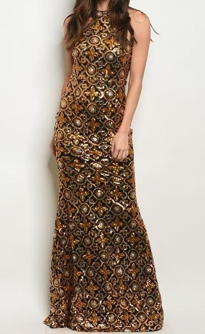 TIMELESS SEQUIN GLITTERING MAXI EVENING GOWN (GOLD)