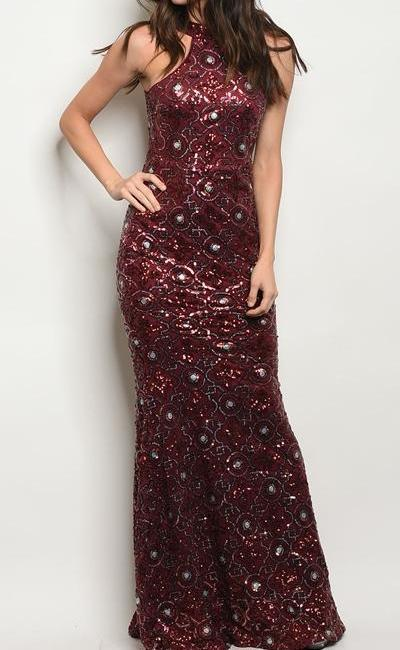 Timeless Sequin Glittering Maxi Evening Gown (Wine)