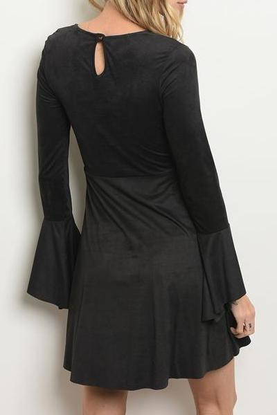 DELANEY FAUX SUEDE FLARE SLEEVE DRESS (BLACK)