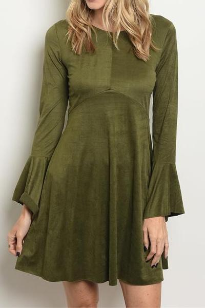 DELANEY FAUX SUEDE FLARE SLEEVE DRESS (OLIVE)