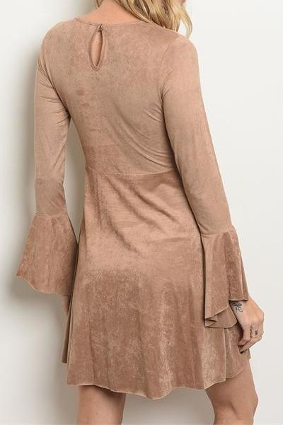 DELANEY FAUX SUEDE FLARE SLEEVE DRESS (TAN)