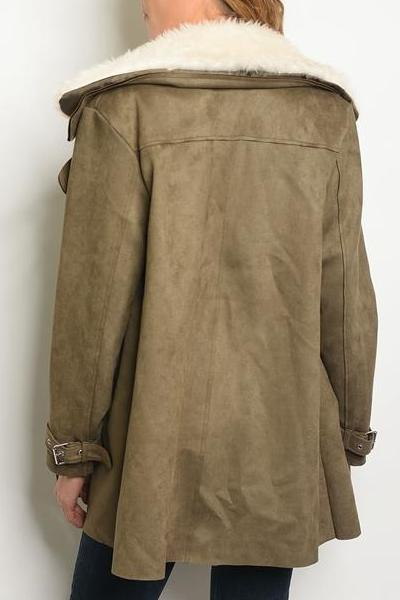 Iconic Fur Suede Oversized Coat (Olive)