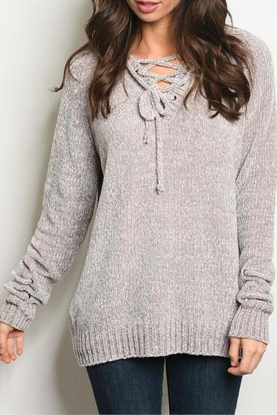 Glisten Powder Gray Chenille Lace Up Sweater