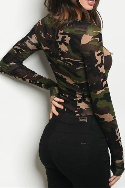 COMBAT TIME ARMY CAMO PLUNGE LACE UP BODYSUIT