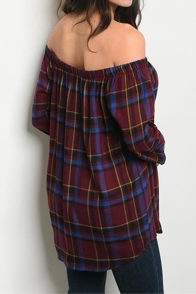 Selena Off the Shoulder Plaid Blouse (Wine Red)