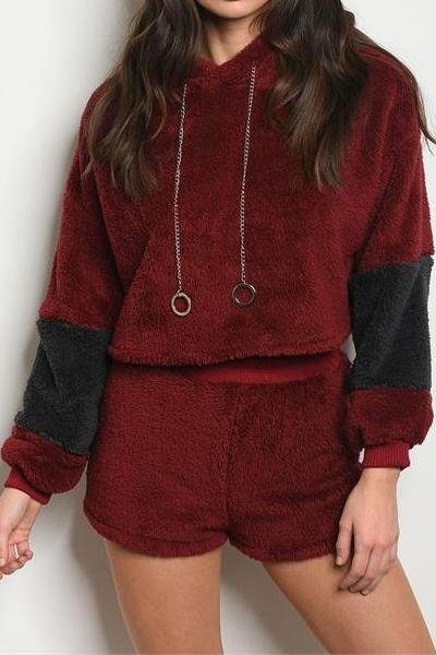 URBAN SUNDAY FUZZY HOODIE AND SHORTS SET